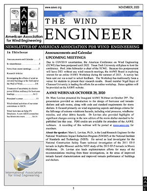 The Wind Engineer: Nov 2020 Newsletter PDF Cover Page